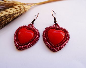 Cute heart-shaped earrings, love, friendship, ready to ship, bead embroidery, pendant, simple, gift, country, colorful, light blue