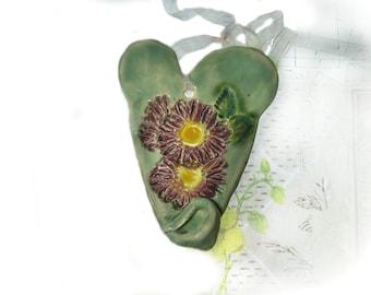Wall Heart, Wall Decor Heart, Ceramic Heart, unique heart,  pottery heart,    # 132