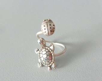 ladybug ring with turtle silver ring, animal ring, silver ring, statement ring