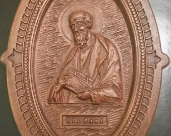 Original Carved Wooden Icon of St. Paul