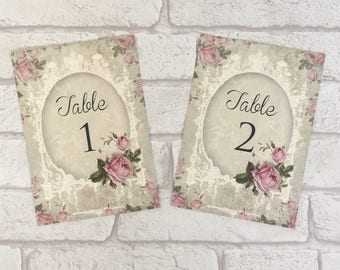 Vintage Wedding Table Number Card - personalised cards - shabby chic antique rose pink