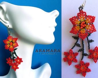 Huichol Earrings, Mexican earrings, Mexican Jewelry, Mexican folk art, Native american earrings, Flower Earrings, Beaded Flower, AF-0197