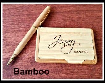 Custom Engraved Business Card Holder, Boss Gift, Personalized Card Case, Corporate Gifts, Fathers Day Gift, Graduation gift. Gift Her Maple