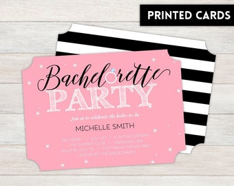 Bachelorette Party Invitations,  Personalized, Bachelorette, Bachelorette party, printed Bachelorette party invite, sparkly ring