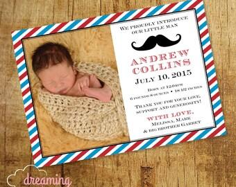 Mustache Baby Boy Birth Announcement
