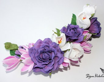 Purple Romantic Flower Headband Floral Hair Pin Bridal Hair Clip Colorful Wedding Hair Clip Photo Prop Headband Prom Flower Hair Clip