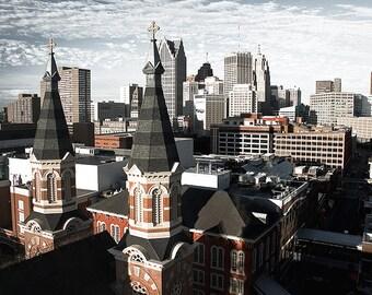 Detroit Photography - Detroit Church Skyline
