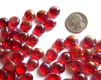 50 Iridized Red Glass Gems, Clear Red Glass PIeces, Red Mini Gesm, Red Round Glass Tiles, Red Vase Fillers, Small Red Flat Marbles for Decor