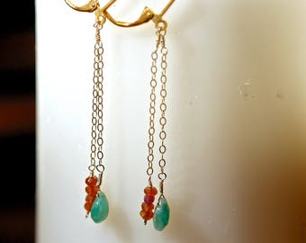 Gold Wire-Wrapped Earrings -- emerald & carnelian