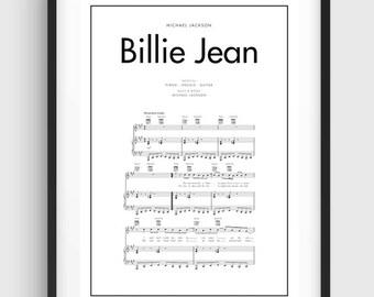 Michael Jackson Billie Jean Song Music Notes Poster, Black & White Minimal Print Poster, Art, Home Art, Minimal Graphics, Music Poster