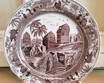 vintage brown white TOILE dinner plate image portrait Spode archive collection Farmhouse decor Caramanian & Vintage toile plates | Etsy