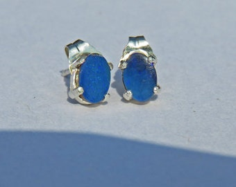 Opal Earrings - Australian Blue Opal Doublet Post Earrings - Opal and Sterling Silver Post Earrings