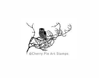 OWL on tree branch- CLING RuBBer STAMP by Cherry Pie  Q538