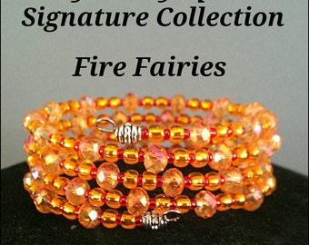 Orange Crystal Memory Wire Bracelet / claspless bracelet / orange coil bracelet / orange crystal bracelet / orange statement bracelet