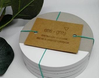 Concrete Coasters. Set of 4. White. Concrete homeware