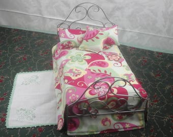 Ornamental wrought iron barbie sized doll bed. Made in the USA.