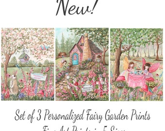 Fairy Garden Party, Set Of 3 Prints, All Personalized, Flowers, Butterflies, Bunny, Birds, Fairies, Owls, Tea Party, Great Baby Shower Gift