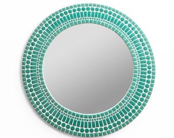 Aqua Mirror – Large Wall Mirror Round in Aqua Glass Tiles
