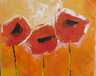 Floral painting; Oil with knife on canvas on chassis poppies : Esprit Champêtre