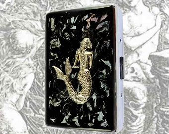 Metal Cigarette Case Silver Mermaid Inlaid in Hand Painted Glossy Black Ink Enamel Swirl Steampunk Nautical Victorian Personalized Options
