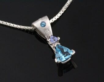 Blue Topaz Pendant, Trillion Gemstone Necklace, Modern Gemstone Jewelry