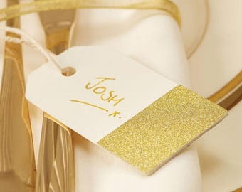 Gold Glitter and Ivory Wedding Favour tag, Gift Tag, Place Card - Pack of 12
