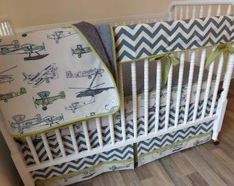 Airplane Crib Set Etsy