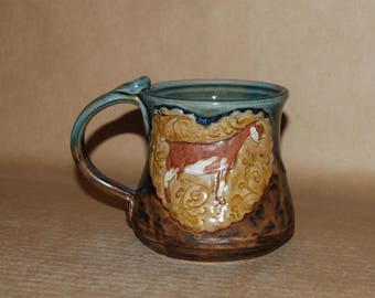 Handmade Stoneware 16 Ounce Mug with Nubian Doe Heart Medallion