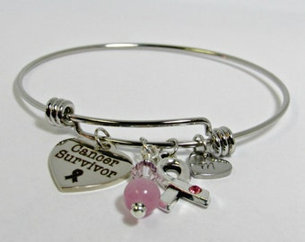 Breast Cancer Bangle Bracelet, Stainless Steel Bangle, Charm Bracelet, Personalized Cancer Bracelet, Gift For Her, Pink Ribbon Jewelry
