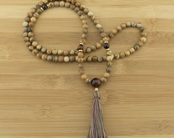Wood Jasper Mala Beads Necklace with Red Tigers Eye | 8mm | 108 Buddhist Prayer Beads with Tassel | Free Shipping