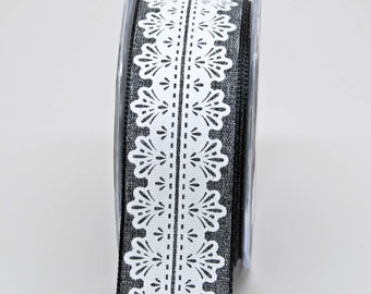 White Lace Center Design Ribbon -- 1.5 Inch -- Heather Grey