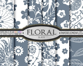 Slate Gray Floral Digital Paper Pack: Gray Floral Scrapbook Paper - Paper Flower Backgrounds - Instant Download