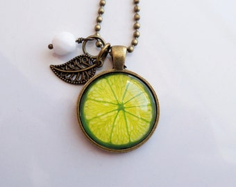 Lime Necklace - Fruit Pendant -  You Choose Bead and Charm - Custom Jewelry - Photo Jewelry - Customized - Green Citrus - Glass Pendant Lime