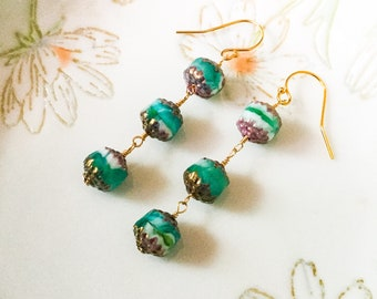 Teal Czech cathedral beads earrings