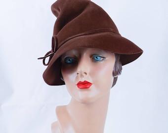1940s Vintage Brown Felt Chimney Crown Fedora by GiGi Sz 21.5