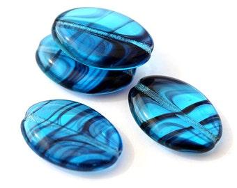 Aqua Blue Czech glass beads Large oval flat beads with stripes Blue glass beads 20x14mm - 6Pc - 1434