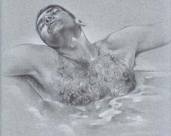 Original drawing, MALE FIGURE DRAWING, pencil and white charcoal on tone paper 9x12inches, art, gay interest