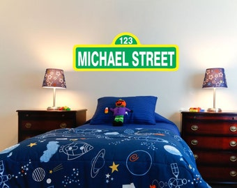 Personalized Sesame Street Wall Vinyl With Name 23u0027u0027 Wide By 8u0027u0027 High