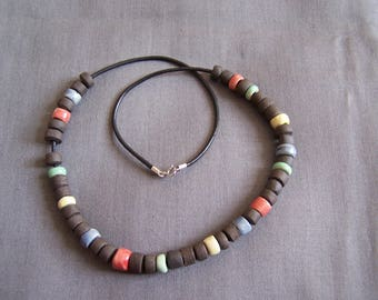 Ethnic necklace black and multicolored sandstone beads, 925 sterling silver