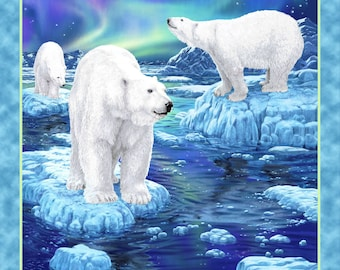 Northern Lights Polar Bears Scenic Quilt / Wall Panel Quilting Treasures #6652