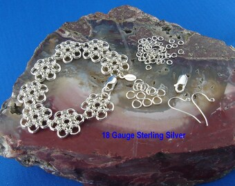Kit & Instructions for Daisy Flower ChainMaille Bracelet in 18 and 20 Gauge Sterling Silver