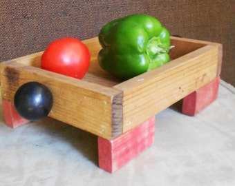 Now 20% off UPCYCLED WOOD BOX, Caddy, Organizer, Tote, old blocks, gear knobs, Vintage ooak