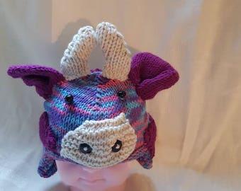 Cute purple cow baby hat