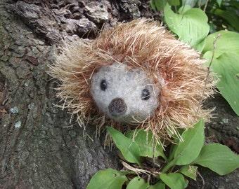 Hedgehog plush toy, hedgehog toy, hand knit and felted hedgehog stuffed animal, woodland nursery decor, hedgie plush toy, made to order