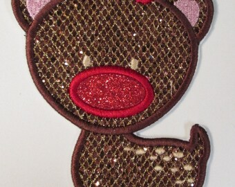 Iron On or Sew On Christmas Reindeer Embroidered Applique