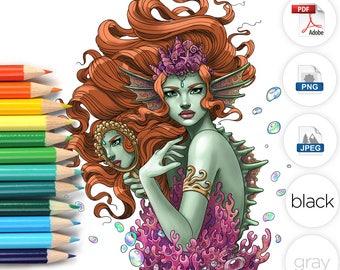 Adult Coloring Page Sea Monster Mermaid Line Art