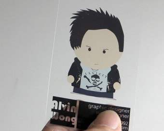 1000 Business Cards - Clear transparent plastic stock - 20 PT Thick - full color - free rounded corners