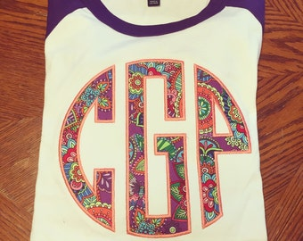 Large applique monogram baseball tee