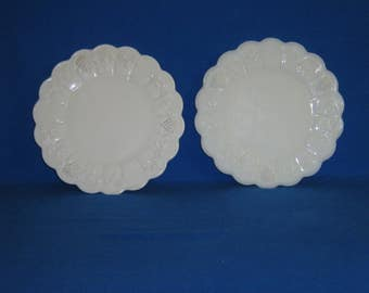 Two Westmoreland Milk Glass Paneled Grape Plates