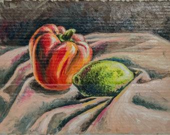 Oil painting pepper and lemon.